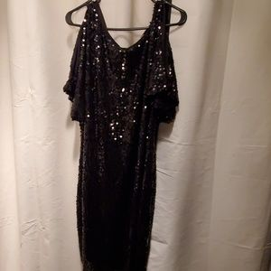 Size 16 black sequin dress.